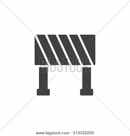 Road barrier icon vector, filled flat sign, solid pictogram isolated on white. Construction barricade symbol, logo illustration