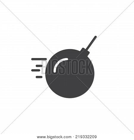 Demolition bomb icon vector, filled flat sign, solid pictogram isolated on white. Wrecking ball Symbol, logo illustration