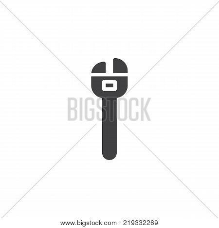Adjustable wrench icon vector, filled flat sign, solid pictogram isolated on white. Adjustable spanner symbol, logo illustration