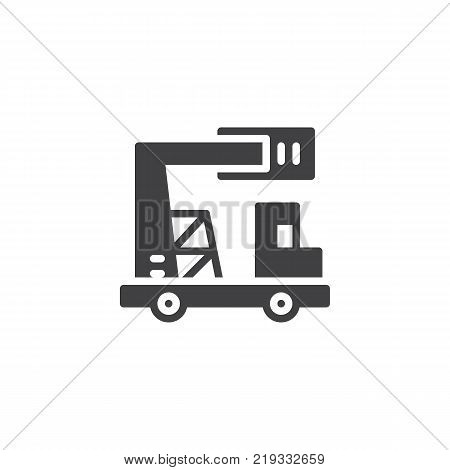 Truck with telescopic crane icon vector, filled flat sign, solid pictogram isolated on white. Lifting machine symbol, logo illustration