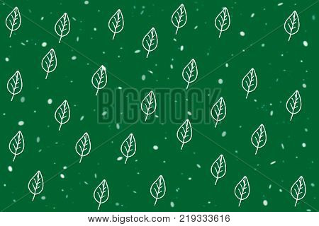 Cute leaf shape pattern on green background with snowfall in abstract style by hand drawing illustration raster. Concept to present green leaf about environment and plants can apply for background or wallpaper. Illustration raster green leaf pattern.