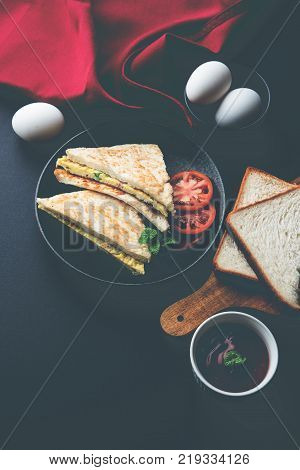 Indian Bread omelette / omlet / omlete sandwich served with tomato ketchup