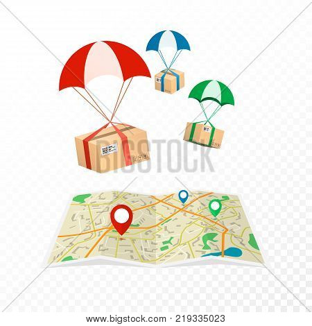 Concept delivery service. Logistic and delivery packages. Flat vector illustration isolated on transparent background