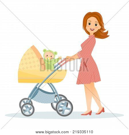 Mother with baby in stroller.Isolated on white background. Cartoon style. Vector illustration