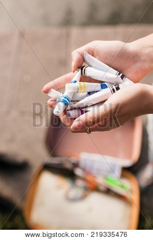 Inks assortment diversity artist painter concept. Lifestyle of talented people.