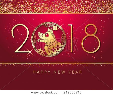 Happy New Year 2018 Chinese New Year Paper Cutting Year of Dog zodiac Vector stock Design template for your greetings card, flyers, invitation, posters, brochure, banners, calendar