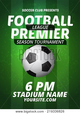 Soccer league flyer design sports invitation template. Vector stock football premier league invitation for sport tournament or championship. EPS 10