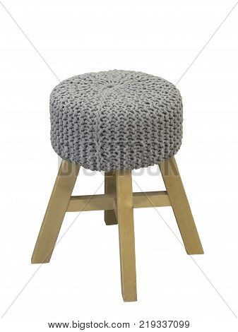 Gray padded stool isolated on white background.