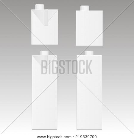 Mock up of milk or juice box on white background. Realistic carton one liter package. Vector illustration