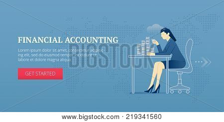 Vector banner template of a female accountant character counting coins on an office desk. Vector concept for internet banners, social media banners, headers of websites, print design and more.