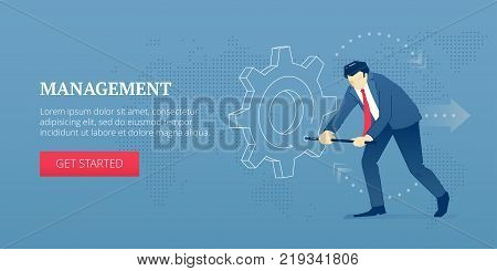 Vector banner template of businessman character twisting a big metaphoric business gearwheel. Vector concept for internet banners, social media banners, headers of websites and more