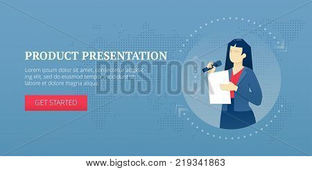 Vector banner template of a female speaker character making presentation with a microphone. Vector concept for internet banners, social media banners, headers of websites, print design and more.