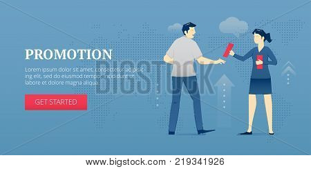 Vector banner template of young promoter woman giving a man promotion leaflet. Vector concept for internet banners, social media banners, headers of websites, print design and more.