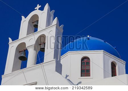 Orthodox church Panagia of Platsani located on the main square of Oia city, Santorini island, Cyclades islands, Agean Sea, Greece, Europe, EU.
