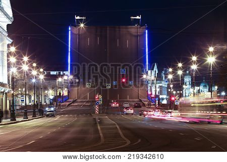 Raised for passage of ships a drawbridge on the Neva River