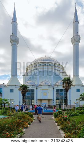 SHKODER ALBANIA - SEPTEMBER 6 2017: Group of unknown tourists is located near Abu Bekr mosque (Sheikh Zamil Mosque Abdullah Al-Zamil or Great Mosque) Xhamia e Madhe Shkoder Albania