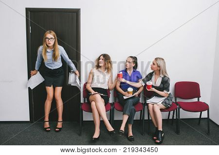 woman after the boss's reprimand. female support. coffee break. shock of dismissal
