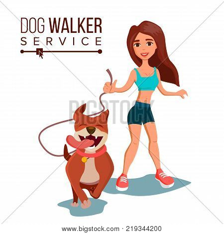 Dog Walker Vector. Walking With Pets. Go For A Walk. Flat Cartoon Illustration