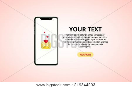 Send or receive love sms, email with mobile phone. Hand hold cellphone.
