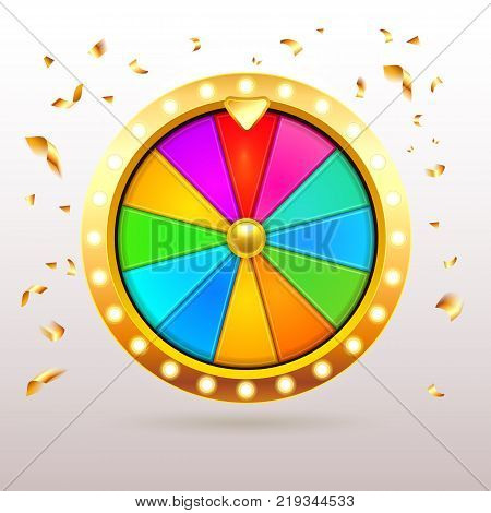 Gold 3d realistic Fortune Wheel illustration with 12 colored empty sectors and confetti.Colorful fortune wheel design. Eps10 vector.