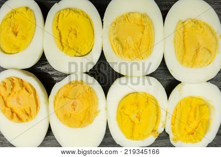 Boiled hard-boiled eggs as a background or texture.
