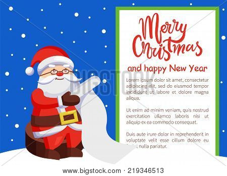Merry Xmas and Happy New Year postcard Santa Claus reading wishlist sitting on wooden stump, Father Christmas with paper scroll vector poster on snow