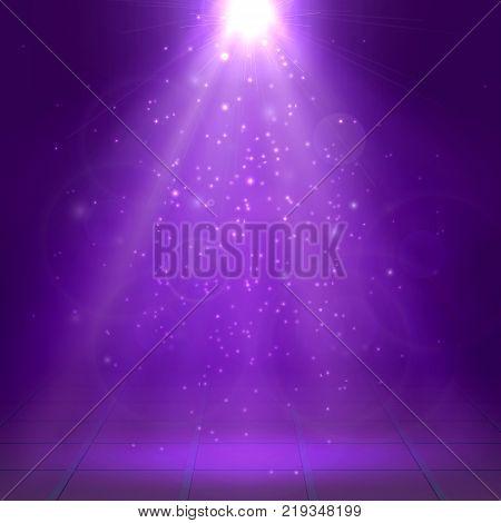 Purple spotlights ray fog smoke Scene Disco Light Effects Vector illustration