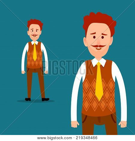 Office worker or clerk character. Red-haired mustached man in orange cardigan knitted waistcoat and tie half-length and full-length portraits flat vector. Businessman or manager cartoon illustration