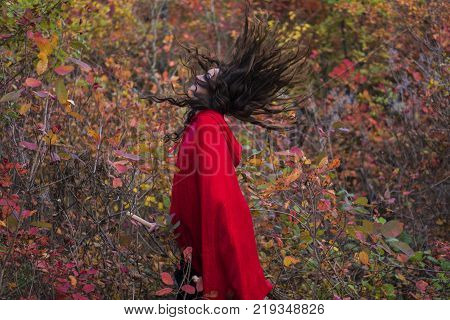 Young beautiful and mysterious woman in woods, in black Dress and Red Cloak, image of forest elf or witch