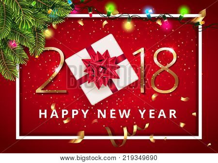 Vector stock premium luxury 2018 Happy New Year red background beautiful gift with red bow under Christmas tree with lights and Christmas elements