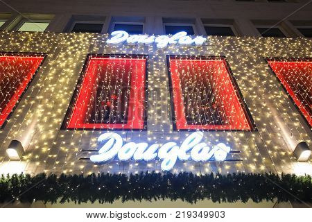 Illuminated Exterior Of Douglas Perfumery