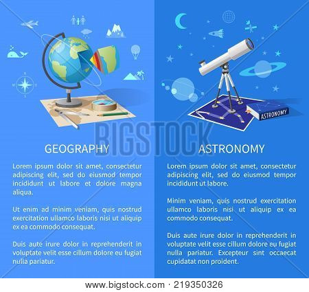 Geography and astronomy informative Internet pages with globe model, world and starry sky maps, and powerful telescope vector illustrations.