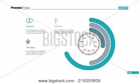 Process circle chart slide template. Business data. Graph, diagram, design. Creative concept for infographic, report. Can be used for topics like management, company, fulfillment
