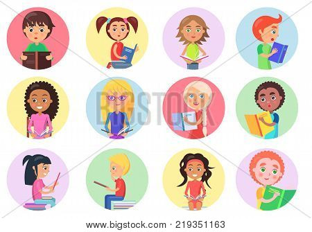 Color icons with reading boys and girls on white background vector illustration. Smiling and enthusiastic children hold textbooks
