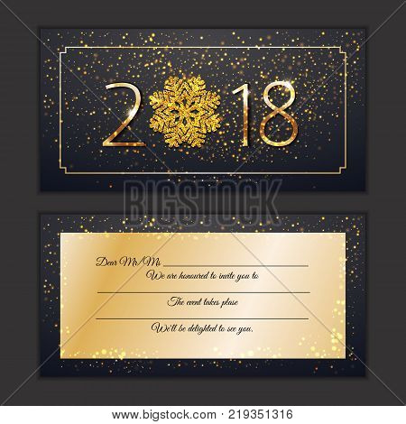 happy new year 2018 party card greting vip celebrate new year personal invitation sparkling golden