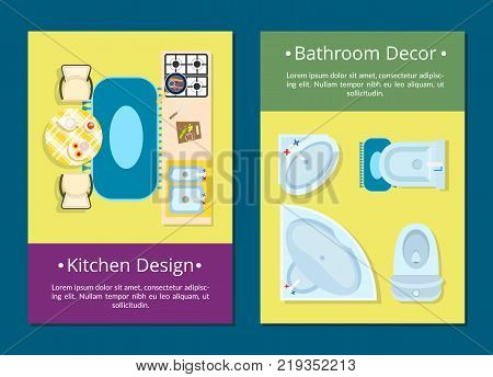 Kitchen design and bathroom decor web pages set with icons of stove, table and chairs, sink and toilet and text sample vector illustration