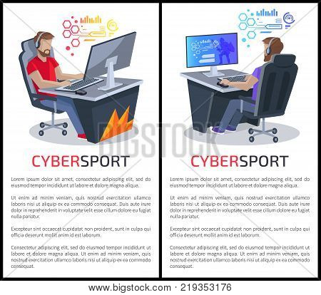 Cybersport posters with text of gamers playing in videogames online on computers, planning the future steps in gaming vector illustrations
