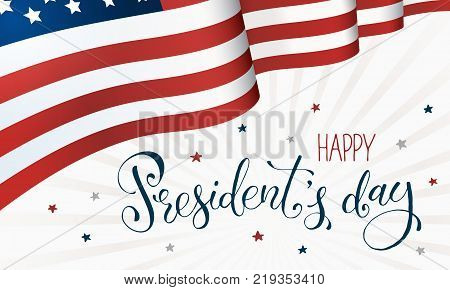 Happy Presidents Day. Horisontal flag of USA with text on white background. USA President Day banner.
