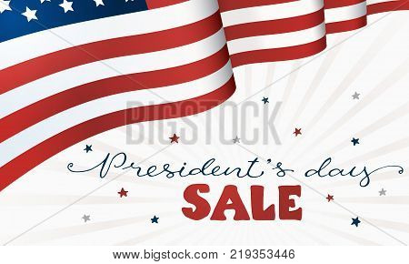 Presidents Day Sale. Horisontal flag of USA with text on white background. USA President Day discount template.