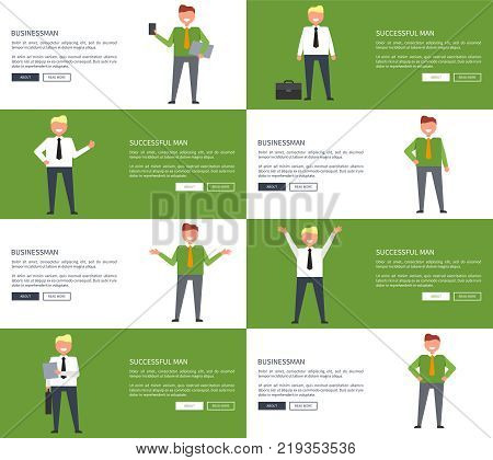 Happy businessman and successful man on set of eight unique pictures in different poses. Vector illustration of office workers designed for web pages