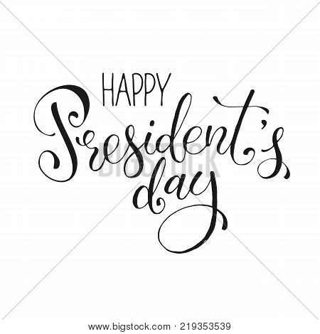Happy Presidents Day text isolated on white background. Hand drawn calligraphy. USA President day lettering.