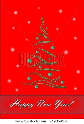 happy new year, green elegant Christmas tree on red background, vertical