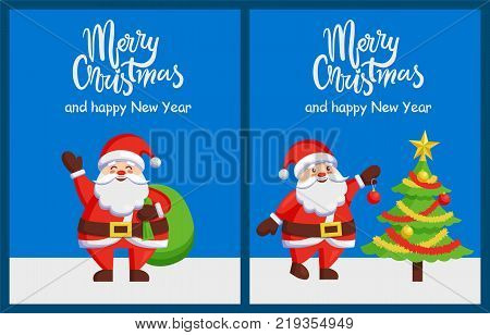 Merry Xmas and Happy New Year poster with Santa Claus decorating tree by color ball. Christmas Father with bag greets you vector illustration postcard