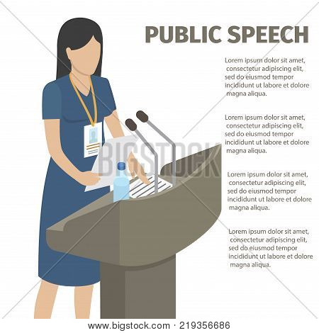 Public speech performed by woman in navy dress with papers and bottle of water on grandstand isolated vector illustration.
