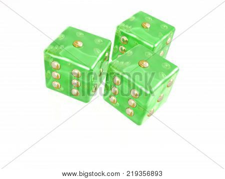 Green dice on white background 3D illustration.