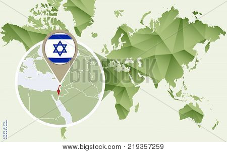 Infographic for Israel detailed map of Israel with flag. Vector Info graphic green map.