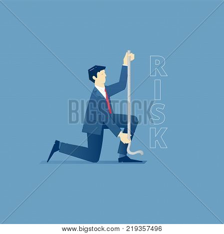 Vector illustration of businessman character sitting on one knee and measuring a word 'risk' with measure tape. Vector concept for banners, infographics, landing pages of website or print design