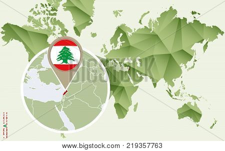 Infographic for Lebanon detailed map of Lebanon with flag. Vector Info graphic green map.
