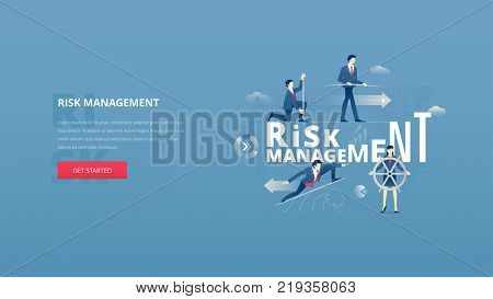 Financial risk management hero bannerVector illustrative hero banner of risk management. Marketing hero website header with men and women business characters around words 'risk management' over digital world map