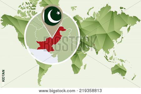 Infographic for Pakistan detailed map of Pakistan with flag. Vector Info graphic green map.